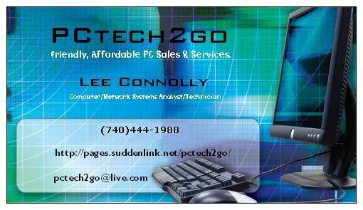 PCtech2go Business Card Front NEW From In Middleport OH 45760