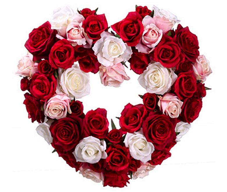 15-1/2 inch x 12 inch Red and Pink Heart Shape Rose Wreath from Dei ... Pink Roses And Hearts