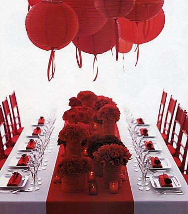 redweddingreceptiontablejpg provided by Posh Girls Tying The