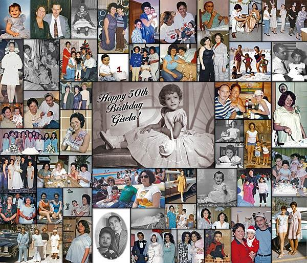 Description: 50th Birthday Gift for Wife - Bordered Photo Collage.