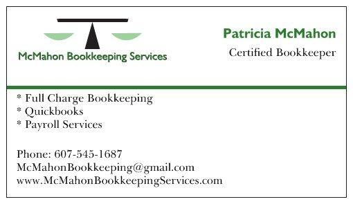 Business cards 2 from mcmahon bookkeeping services in endicott ny by mcmahon bookkeeping services reheart Choice Image