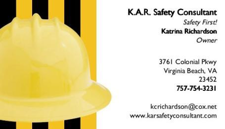 Business card issue from kar safety consultant in virginia beach va by kar safety consultant colourmoves Image collections
