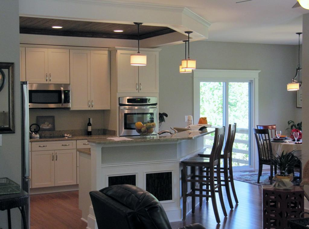 Open kitchen and dining area from kj construction and for Small kitchen with dining area