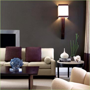 Deep gray living from moxy colour therapy for Aubergine living room ideas