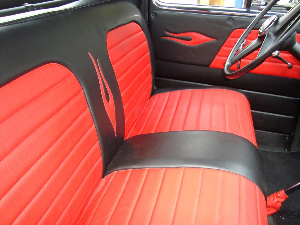 black red leather upholstery for a 53 chevy pu from winning attractions street rod customizing. Black Bedroom Furniture Sets. Home Design Ideas