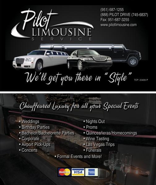 Limousine service in riverside ca limo service business card from pilot limousine service in riverside ca 92503 reheart Choice Image