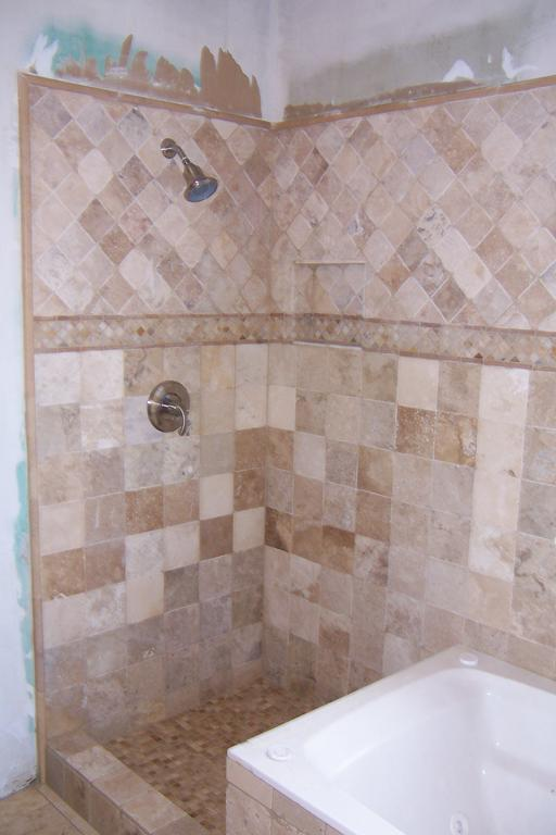 Tumbled Travertine Shower From Great American Tile And