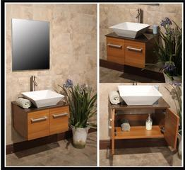 Wall Mounted Bathroom Vanity w/ Storage Cabinet & Ceramic Sink ...