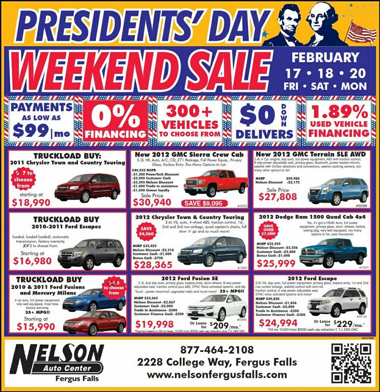 Presidents' Day Vehicle Sale Special MN