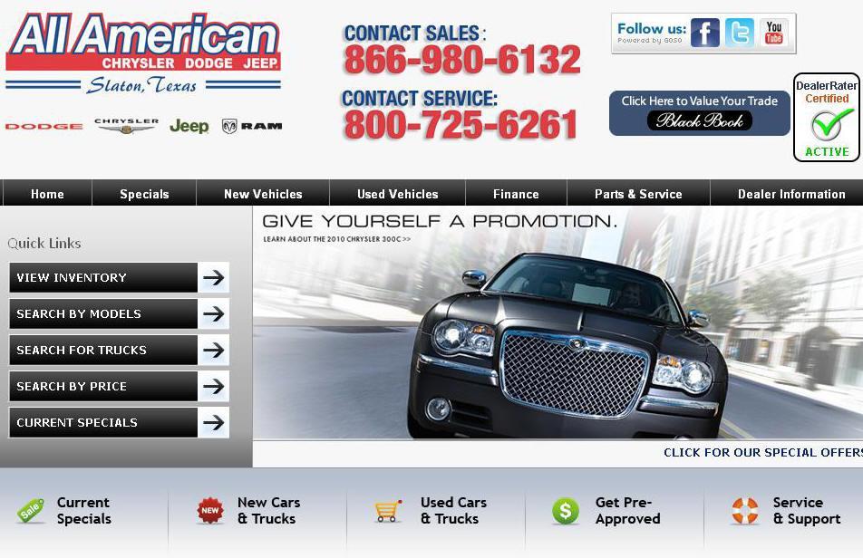 all american dodge chrysler jeep slaton tx 79364 800 725 6261. Black Bedroom Furniture Sets. Home Design Ideas