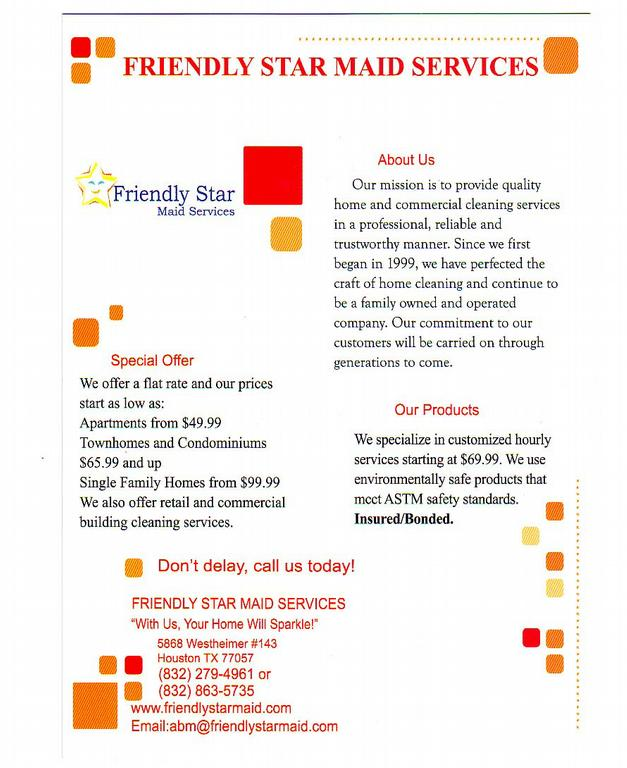 Marketing Flyer from Friendly Star Maid Services in Houston, TX 77057