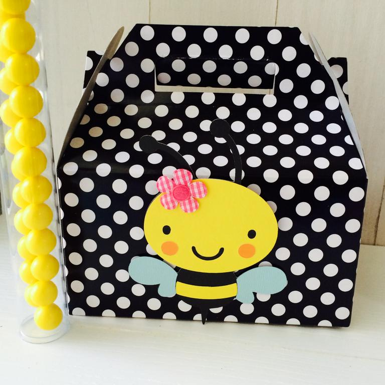 Yellow Bumble Bee Kids Birthday Party Gable BoxesJPG