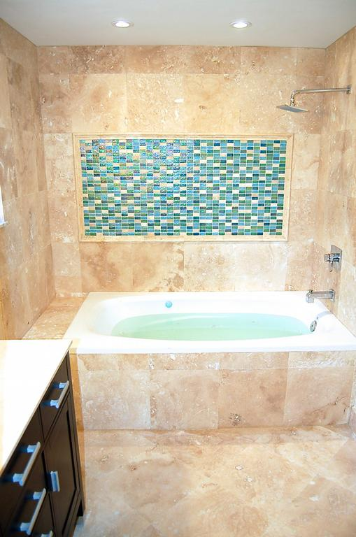 Miami Bath Travertine Remodeling With Jetted Bathtub