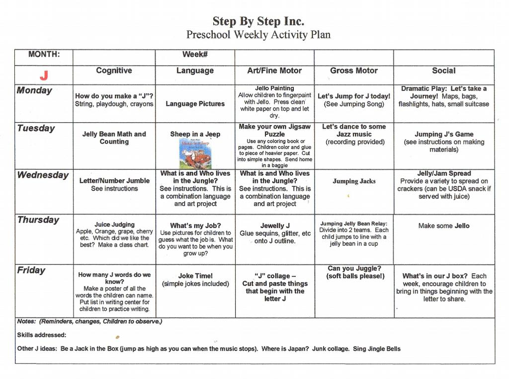 Preschool Weekly Lesson Plan from Early Learning Curriculum in ...