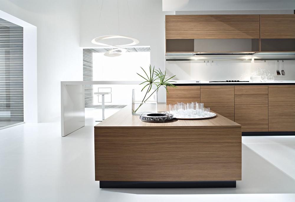 Pedini dune contemporary walnut wood kitchen design from for Walnut kitchen designs