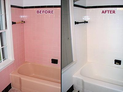 Pink Tub Tile BEFORE AFTER From Renew Kitchen Bath Refini