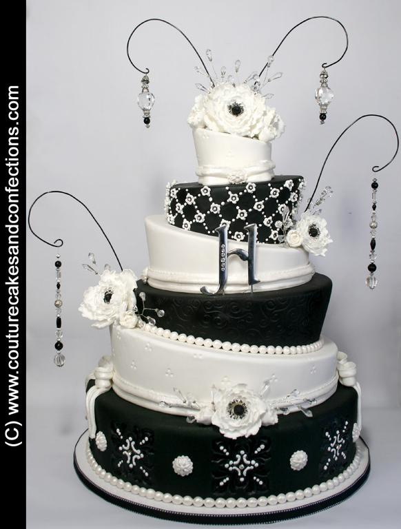 black and white topsy turvy wedding cake pictures for couture cakes amp confections by a bountiful 11843