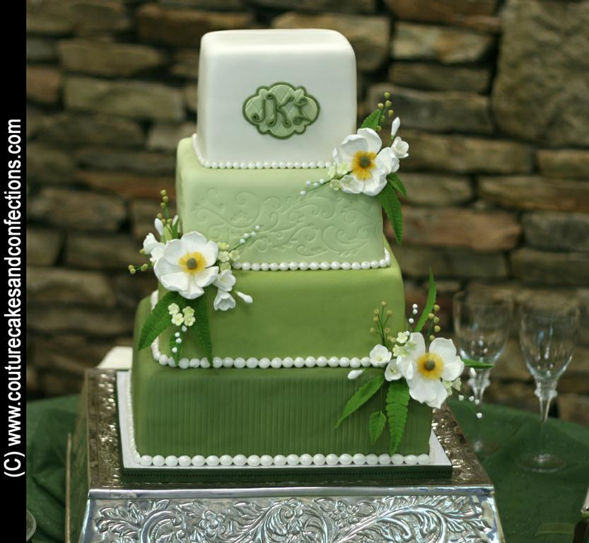 Shades Of Green Wedding Cake From Couture Cakes Amp Confections By A Bountiful Harvest In Hixson