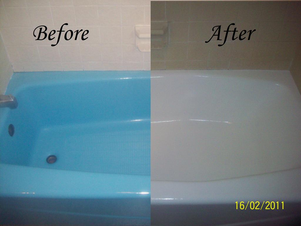 Bathtub resurfacing before and from dennie 39 s for Bathroom refinishing