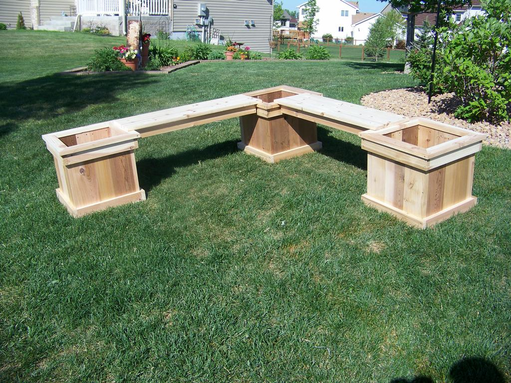 L shaped planter bench from vanderhoff construction in for Flower bench ideas