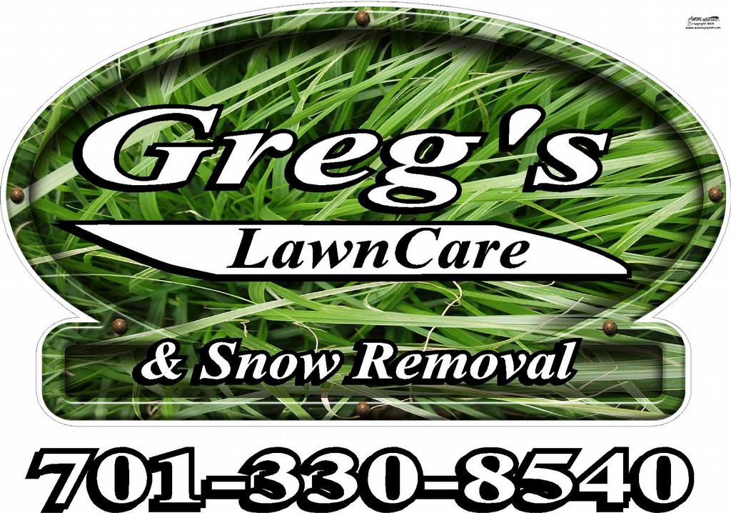 Gregs logo from greg 39 s lawn care snow removal in grand for Garden maintenance logo