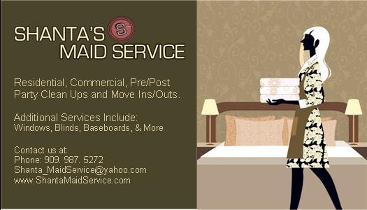 Shanta's Maid Service - Rancho Cucamonga CA 91730   909-987-5272