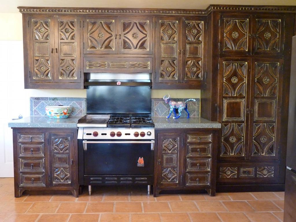 Rancho san antonio kitchen santa barbara carving pattern for Carved kitchen cabinets