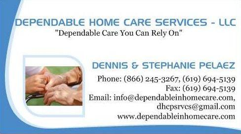 Business cards from dependable home care services llc in vista ca by dependable home care services llc reheart Image collections