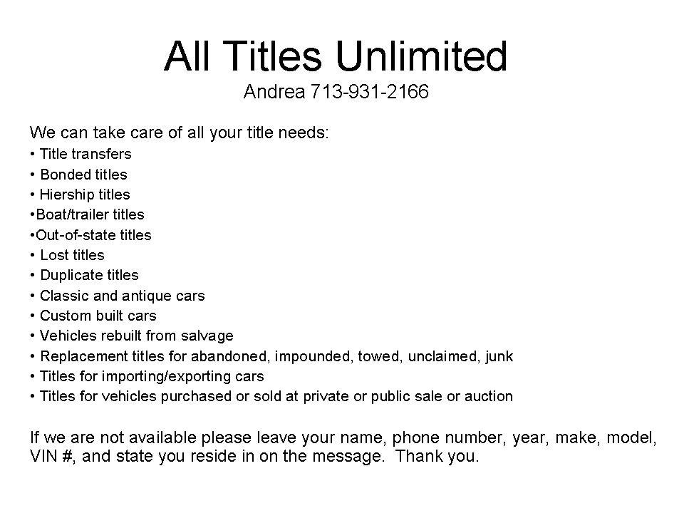 Pictures for All Titles Unlimited in Houston, TX 77074 | Autos