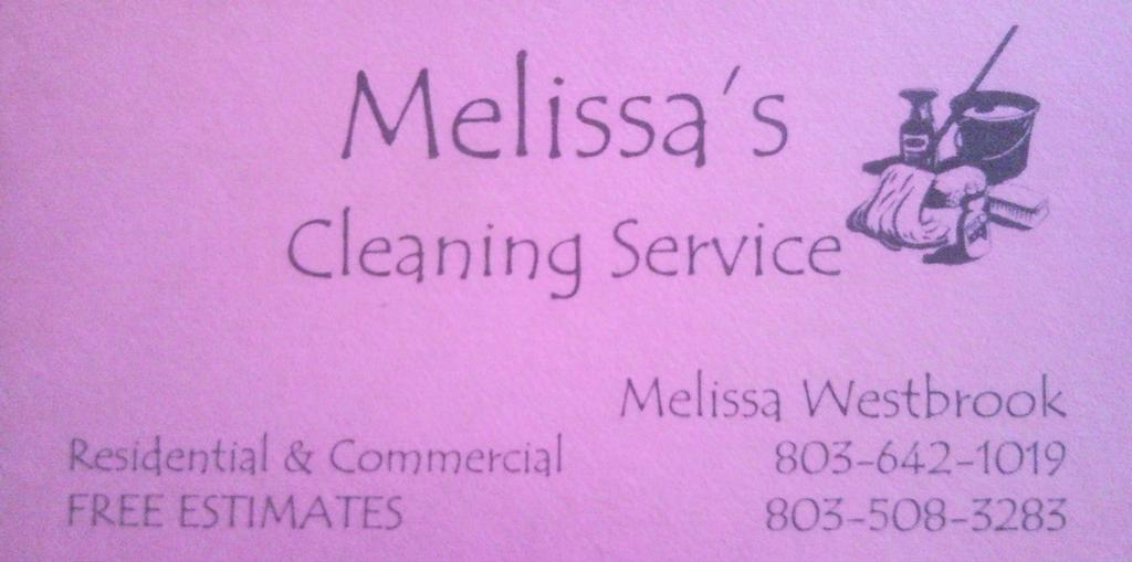 business card from Melissa\'s Cleaning Service in Aiken, SC 29805