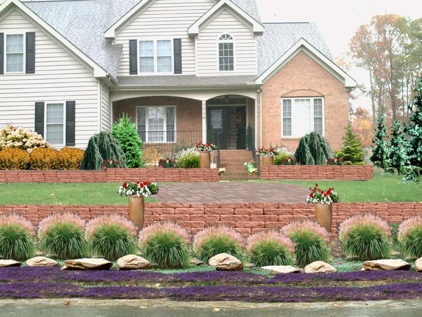 Westmoreland front entrance landscape design from for Front entrance landscaping ideas