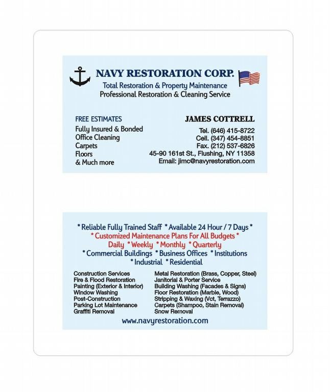 Our business card nrc 1 from navy restoration corp in flushing by navy restoration corp reheart Images