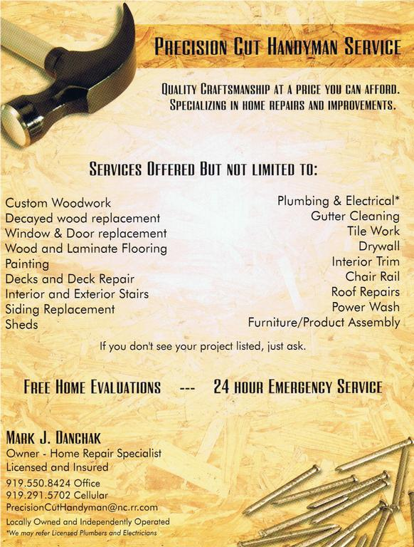 Flyer From Precision Cut Handyman Service In Clayton Nc 27520