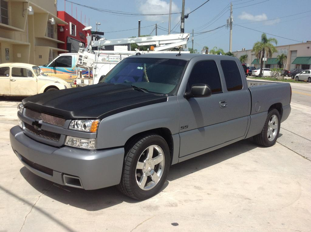 Chevy Silverado Matte Grey Wrap Hood Accent From Miami