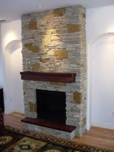 Tennessee Fieldstone Fireplace : Custom built fireplace with natural tennessee and west