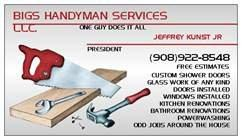 business card from Bigs handyman services llc in Plainfield, NJ 07063