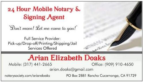 Business card 0911 from arian doaks 24 7 mobile notary for Examples of notary public business cards
