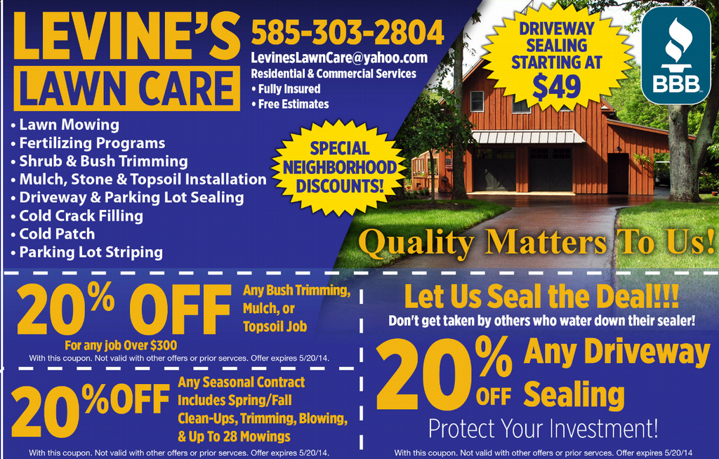 Printed deals ad 2014 from LEVINE'S LAWN CARE in Rochester, NY 14615