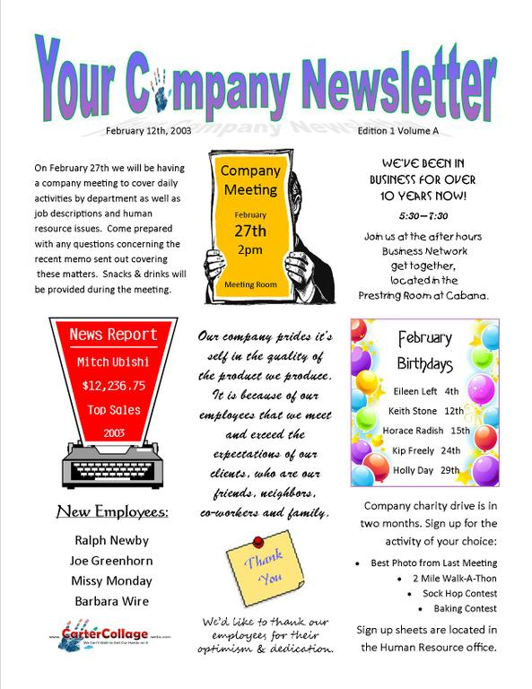 Example Company Newsletter Jpg From Carter Collage In Yukon Ok