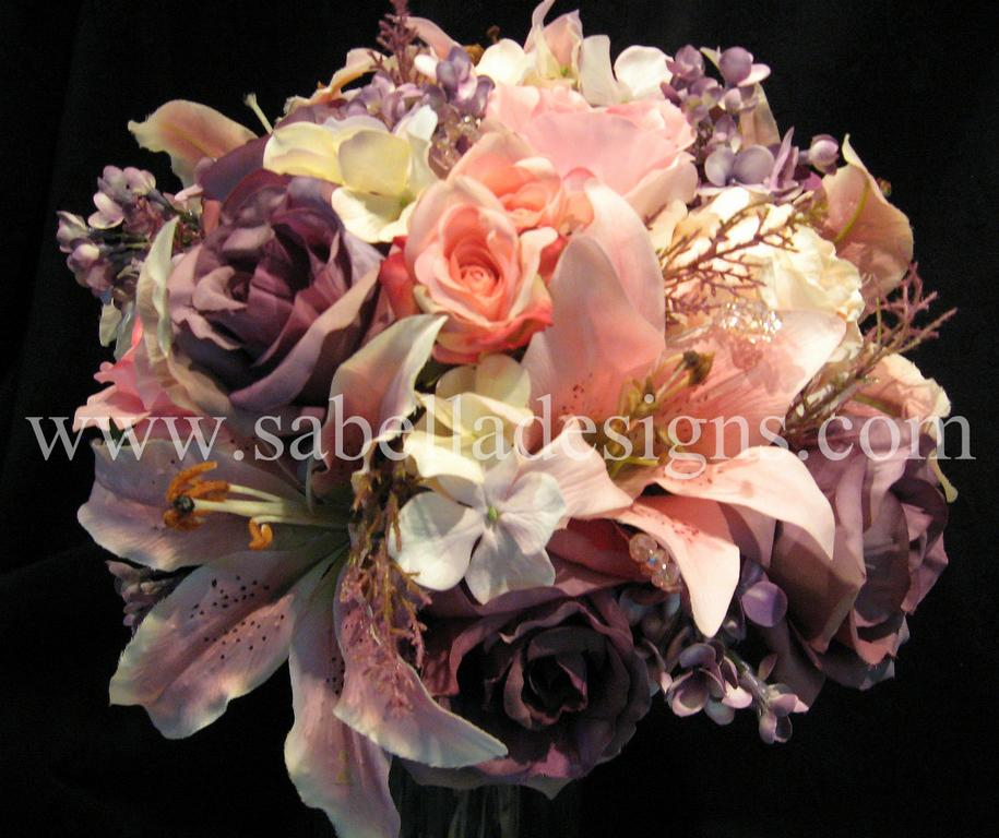 Tags purple tea roses lily hydranga tiger pink wedding bouquet lilac