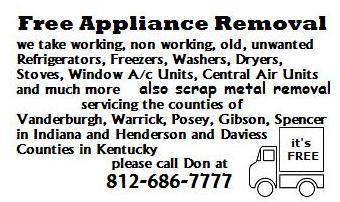 Free Appliance Removal - Evansville IN 47710   812-686-7777