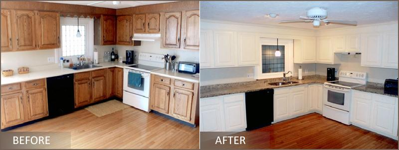 refinished kitchen cabinets before and after pictures for cabinet refinishing by kenneth c lewis in 25289