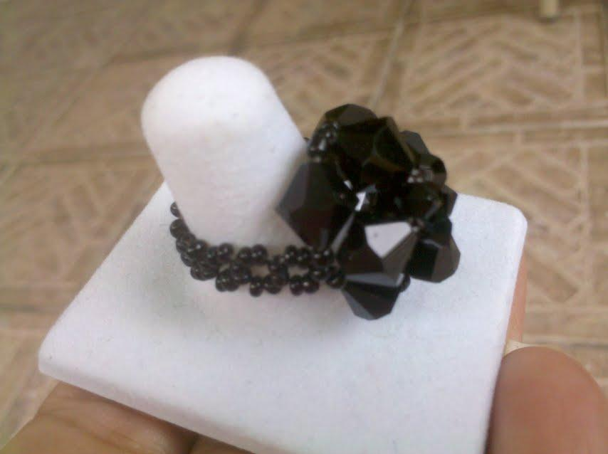 black swarovski ring by Sylvie's Creations