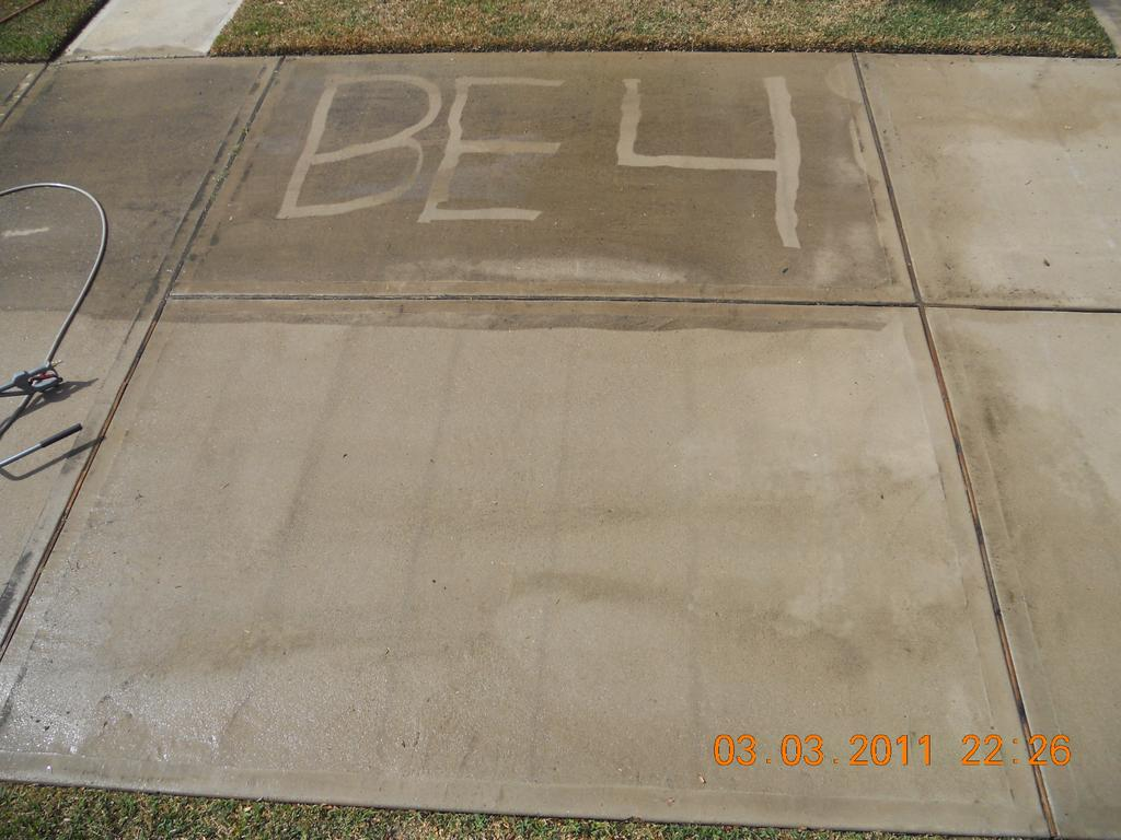 Before and after concrete cleaning from houston 39 s pressure for Concrete pressure washer