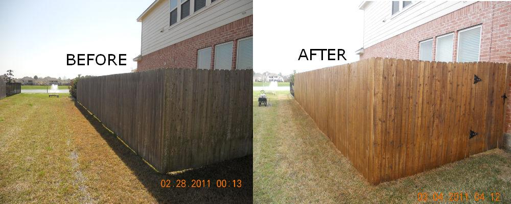 fence staining before after from houston 39 s pressure washing in houston. Black Bedroom Furniture Sets. Home Design Ideas