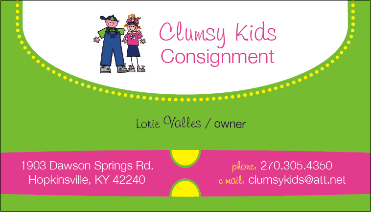 Correct business card from clumsy kids consignment in hopkinsville by clumsy kids consignment colourmoves