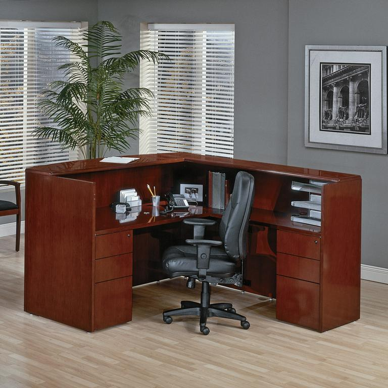 Sonoma Series Real Cherry Wood Reception Desk By Markets West Office Furniture Inc