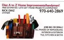 Business card from diaz a to z home improvement handyman for A to z home improvements