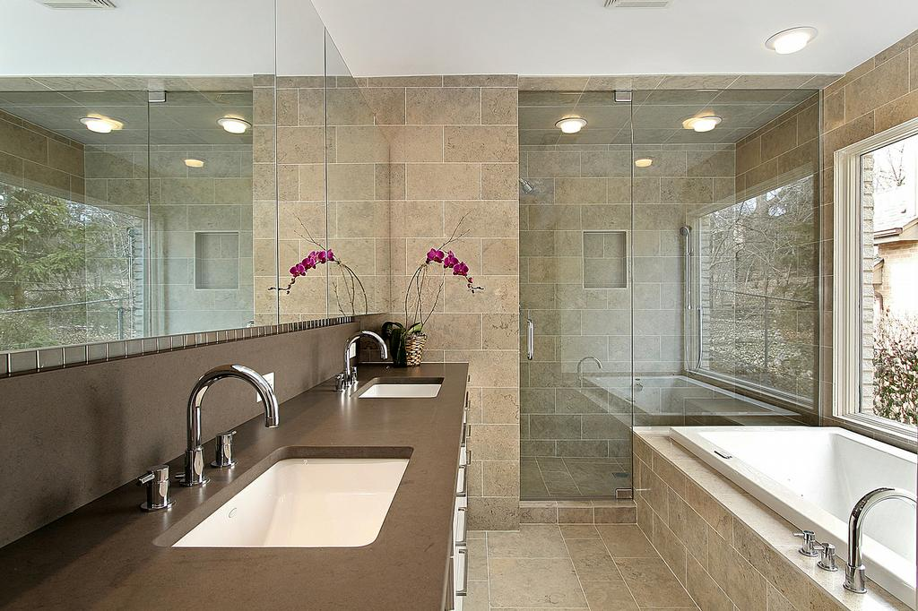 Contemporary master bath design from above and beyond for Master bathroom remodel