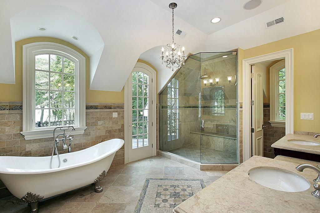transitional master bath design style from above and